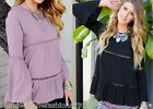 Black Long Fluttery Bell Sleeve Blouse Tunic Top