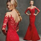 Formal Red Lace Prom Bridesmaid Mermaid Dress Cocktail Ball Gowns Evening Dress