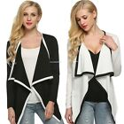 Women Sleeve Irregular Cardigan Coat Long Blazer Asymmetric Casual Black Coats