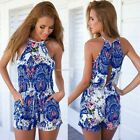 New Womens Boho Floral Playsuit Summer Party Shorts Jumpsuit Rompers Dress B20E