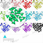 1000 pcs Demi perles Strass Acrylique Facette Triangle 12 Couleurs 3x3mm