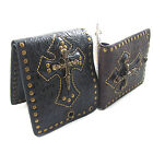 Men's Leather Wallet Cross With 4 Skull Stub Gothic Punk Biker Purse Bifold