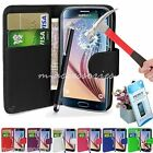 3in1 Samsung Galaxy S6 G920 Pu Leather Wallet Cover Pouch,Tempered Glass,Stylus