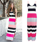 Sexy Women Summer Beach Casual Sundress Sleeveless Striped Slim Maxi Long Dress