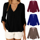 Women Lady Chiffon Tops V Neck Long Sleeve T Shirt Casual Blouse Tee Plus Size