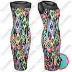 NEW WOMENS LADIES NEON PRINT MESH TOP MIDI DRESS SLEEVELESS BODYCON LONG DRESSES