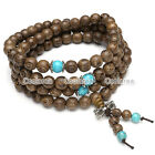 Men's Natural Wenge Wood Bracelet Wrist Necklace Buddhist Beads Paryer Mala Cuff