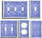 IMAGE OF FLORAL TILE BLUE  LIGHT SWITCH COVER PLATE     YOU PICK  SIZE