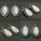 BEAM0117 ETHNIC STYLE WHITE MOTHER OF PEARL NATURAL SEASHELL DANGLE EARRINGS