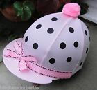 RIDING Hat Silk Skull cap Cover BABY PINK BLACK SPOTS RIBBON With OR w/o Pompom