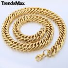 14mm Boy Men Chain DOUBLE CURB Rombo Link Gold Tone Stainless Steel Necklace NEW