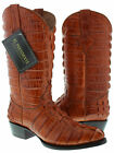 Mens Cognac Rust Brown Full Alligator Tail Exotic Western Cowboy Boots Round Toe