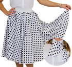 LONG WHITE POLKA DOT SKIRT FANCY DRESS ROCK N ROLL 1960S STANDARD + PLUS SIZE