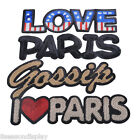 """1PC """"I love paris"""" Letters Patches Embroidered Iron On Patch Sequins M12591"""