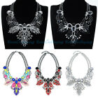 New Jewelry Double Chain Shiny Charm Crystal Chunky Collar Bib Necklace Hot