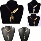 Feather Pattern Pendant Necklace Gold Silver plated multilayer tassel necklace