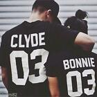 Womens Mens Casual Short Sleeve Print Bonnie Couple CLYOD T-shirt Tees Tops LA