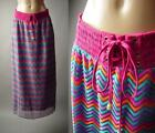Rainbow Chevron Lace Tie Waist Retro Hippie 70s Boho Long Maxi 187 mv Skirt OS