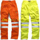 Hi Viz Combat Work Wear Trouser Cargo Pocket Pants Mens Security Safety Uniform