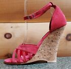 "Karo 5"" Cork Wedge Suede Upper Ankle Strap Sandal Shoe Made USA 2022"