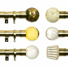 35mm dia Metal Curtain Pole Burnished Brass 150-360cm - Finial Options