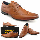 Mens New Tan Brown Leather Lined Brogue Gibson Lace Up Smart Shoes 7 - 12
