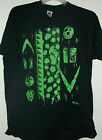 NEW ABSTRACT XXL GLOW IN THE DARK SURFERS t shirt   IRRIDESENT GREEN ON BLACK