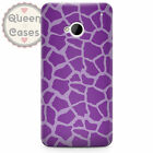 Giraffe Print Bright Purple Phone Case for HTC fits HTC One M9 M7 Mini Desire Se