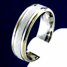 Satin Finish Gold Tone Stainless Steel Engagement Wedding Mans Bridal Band Ring