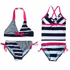 Girls Swimwear Swimsuit Bow Striped Bathing 3-12Y Kids Bikini Tankini Beachwear