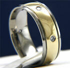 New Men's Gold Tone Titanium 0.01 CT CZ Engagement Wedding Anniversary Band Ring