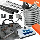 30'Electric Central Vacuum Kit Powerhead,Electric Hose & Tools-One Simple to Use