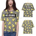 Fashion Womens Pizza Letters Cake Print T Shirt Casual Short Sleeve Blouse Tops