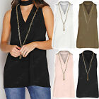 NEW LADIES CUT OUT V NECK CHAIN NECKLACE TOP WOMENS CHOKER DETAIL LOOK LONG VEST