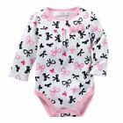 Jumping Beans 6 Months Bow Long Sleeve Bodysuit Baby Girl Clothes Cotton Pink