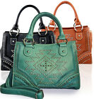 New! Montana West® Studded Southwestern Messenger Tote w/ Strap- 3 Color Choices