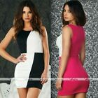 Womens Block Colour Sleeveless Party Ball Cocktail Clubwear Evening Mini Dress