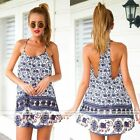 SUMMER Womens Casual Elephant Print Lovely Cocktail Party Beach Vest Mini Dress