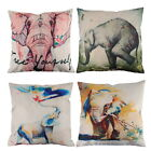 18'' Square Creative Elephant Pattern Cotton Linen Pillowcase Sofa Cushion Cover