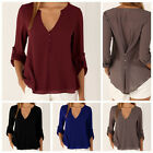 Fashion Women's V-neck Button Tops Blouse Tee Long Sleeve Casual Loose Tshirts