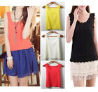 Summer New Blouse Womens Slim Chiffon Lace Tops Sleeveless Shirt Casual Vest