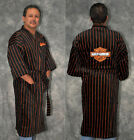 "Harley-Davidson 48"" Cotton Velour Mens Black Baseball Striped Bath Robe"