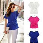 Summer Womens Casual Chiffon Blouse Short Sleeve Shirt T-shirt Blouse Tops B20E