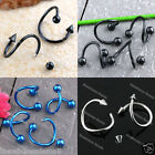 2x 16G Earring Ear Ring Stud Piercing Stainless Steel Ball Twist Free ship USA
