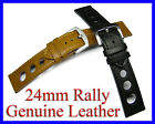 24mm RALLY RACING Genuine Calf Leather Watch Band Strap Stainless Steel Buckle
