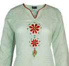 Ladies Indian Long Sleeve Kurta-Kurti Tops Green KL6847 Various Sizes