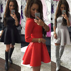 Sexy Women Ladies 3/4 Sleeve Round Neck Evening Cocktail Party Mini Skater Dress