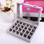 Glass Velvet Jewelry Organizer Holder Ring  Storage Case Earrings Display Box