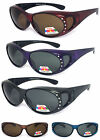 Womens Rhinestone POLARIZED Anit Glare Oval Lens Cover Fit Over Sunglasses