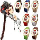 Women's Chinese Peking Opera Pattern Weaved Leather Quartz Women Dial Watches